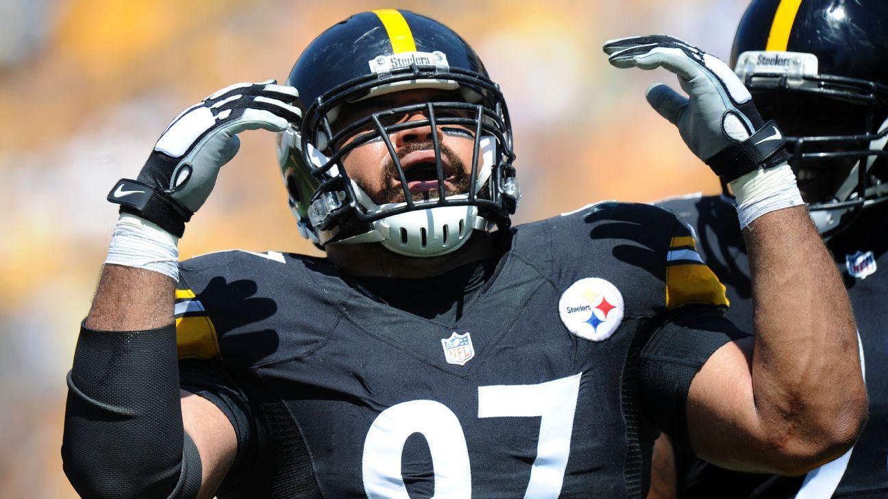 Cam Heyward of Pittsburgh Steelers wears eye black to ...
