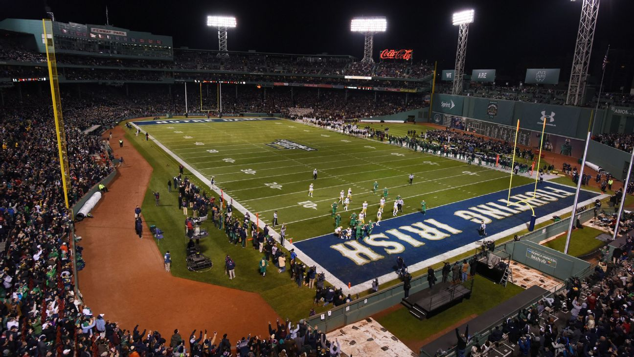 Boston Celtics discussing outdoor game at Fenway Park