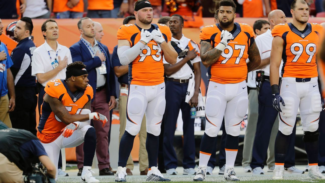 outlet store d9409 5c39c Brandon Marshall of Denver Broncos kneels during national anthem