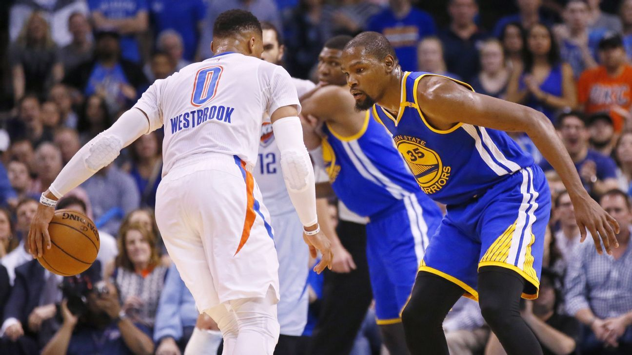 cheap for discount 3b1b6 9934e Thunder fans rally around Russell Westbrook, let Kevin Durant have it -  Oklahoma City Thunder Blog- ESPN