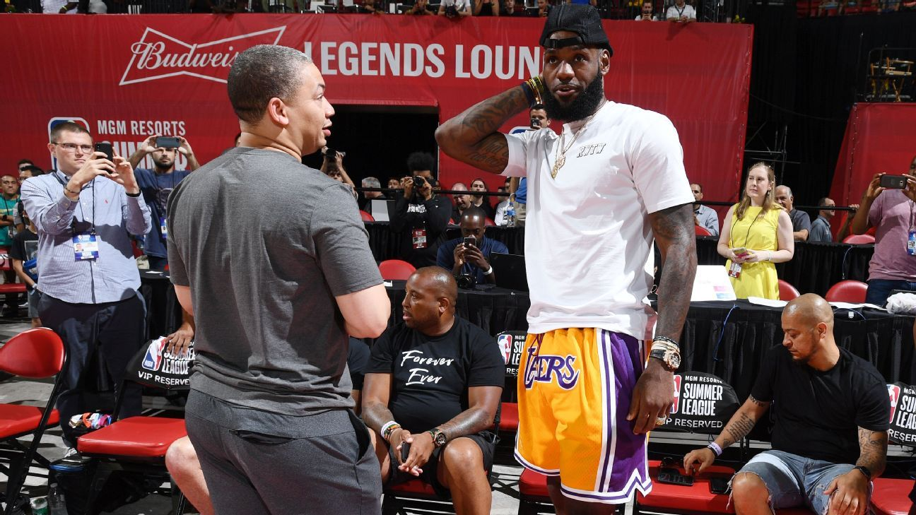 d5b5f5207 LeBron James courtside for Los Angeles Lakers  summer league game