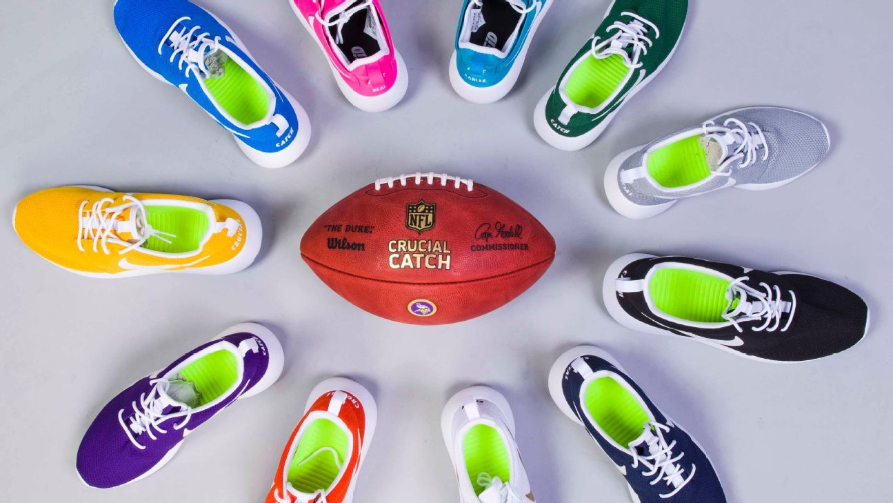 612f82bb1286f3 Minnesota Vikings use color-coded shoes to help spread cancer awareness