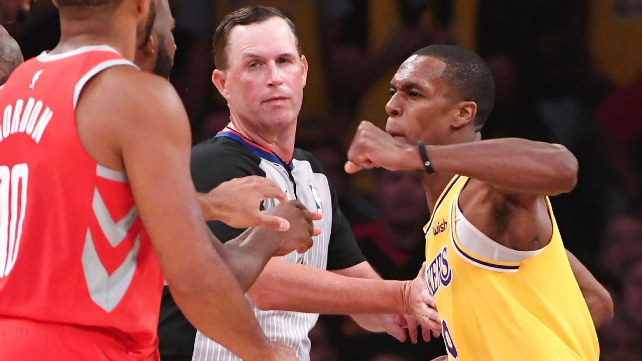 3e59436b1a33 Rajon Rondo of Los Angeles Lakers denies intentionally spitting on Chris  Paul of Houston Rockets