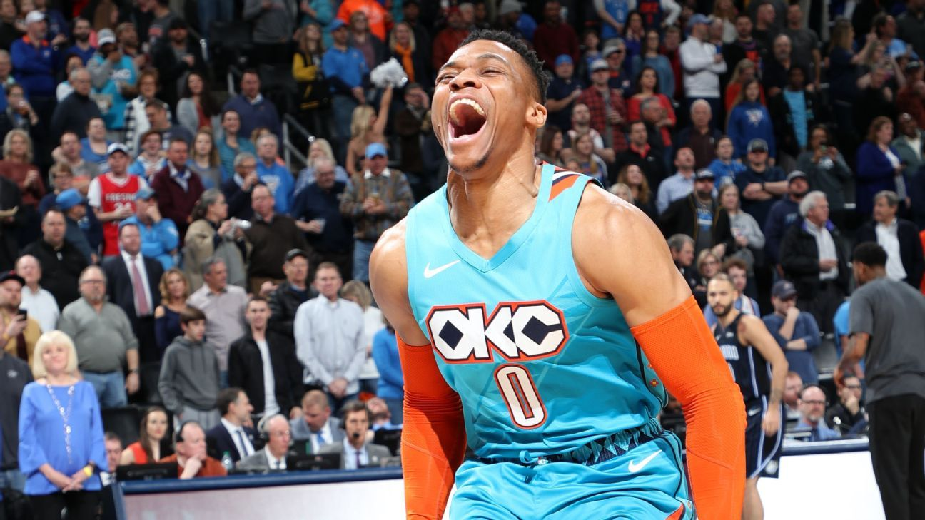 new product 5cca9 cbf5a Thunder s Russell Westbrook notches his 7th straight triple-double, tying Michael  Jordan