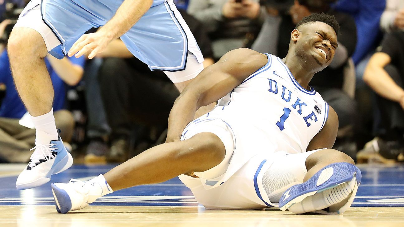 ee40ad2ff1c One bad Zion Williamson step leads to one bad night for Duke