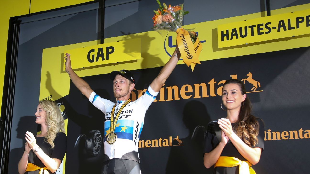Tour de France: Trentin wins stage 17 as tempers flare