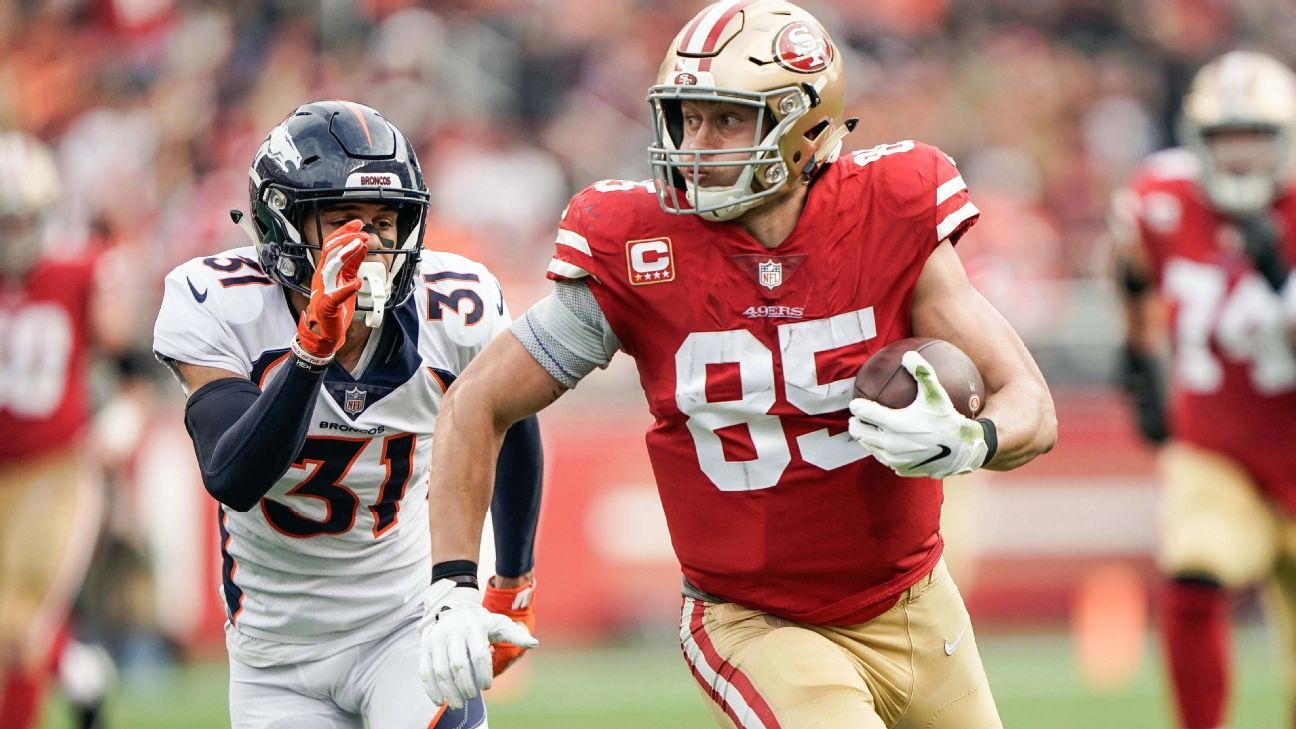 Niners' George Kittle (knee, ankle) won't play against Cardinals