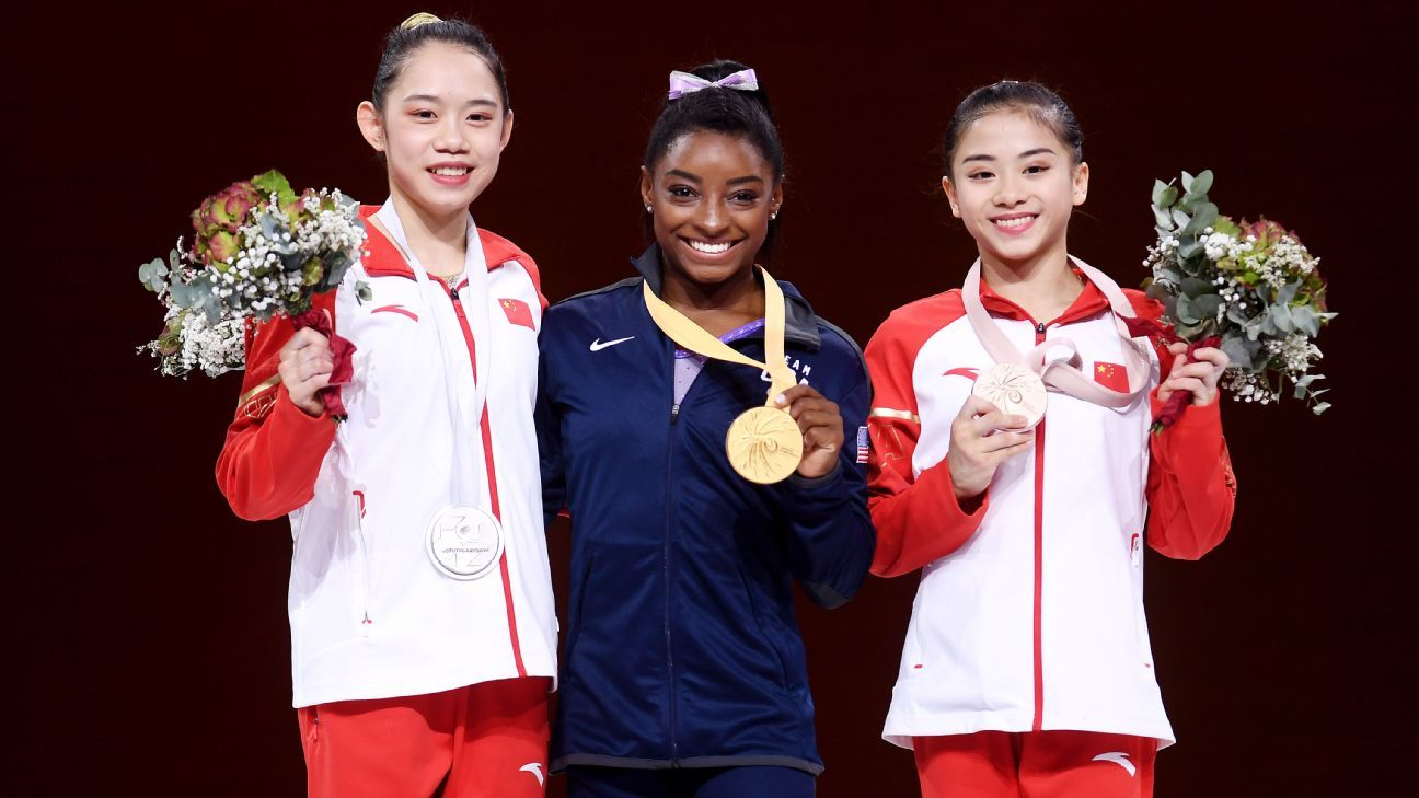 Simone Biles sets medals record at gymnastics worlds