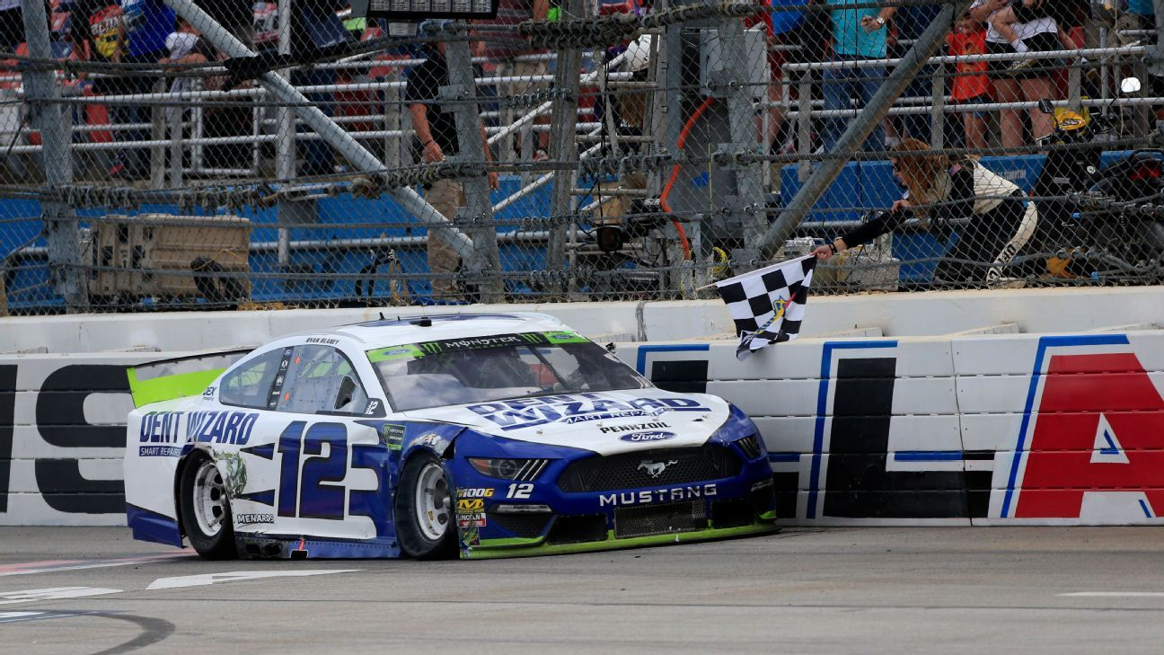 Ryan Blaney wins NASCAR playoff race at Talladega to advance