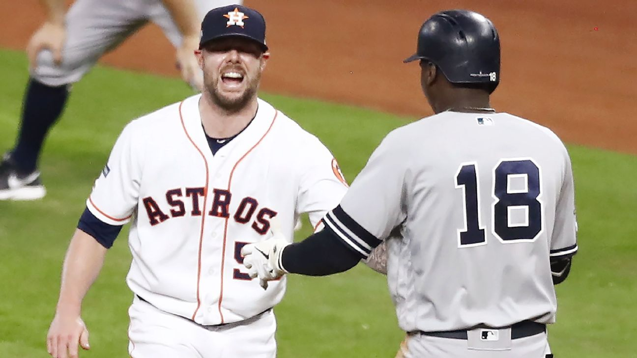 Astros reliever Ryan Pressly exits Game 6 of ALCS due to knee discomfort