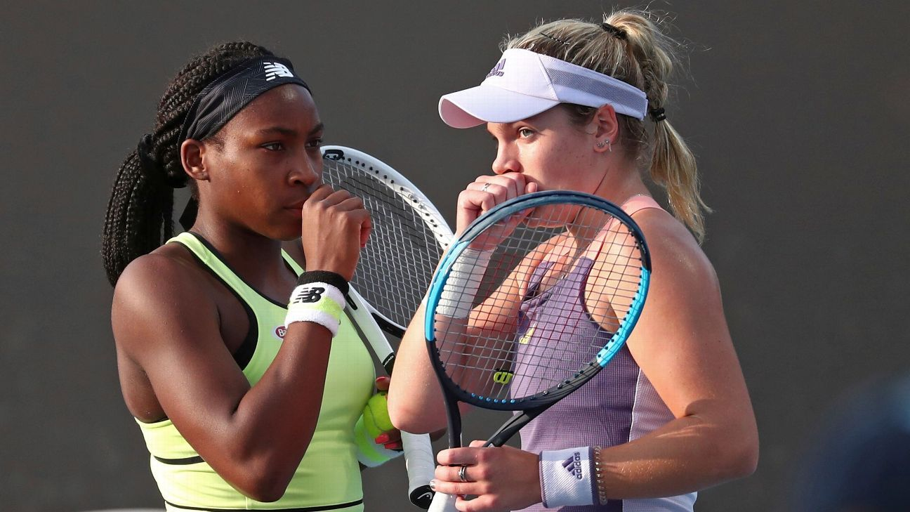 Coco Gauff, Caty McNally feed off Australian Open crowd support during first-round doubles win