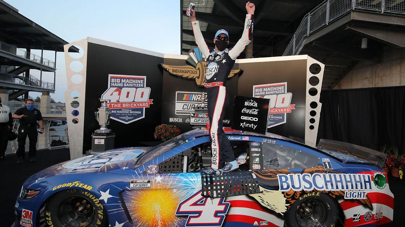 Kevin Harvick wins third Brickyard 400 after Denny Hamlin crashes late - ESPN