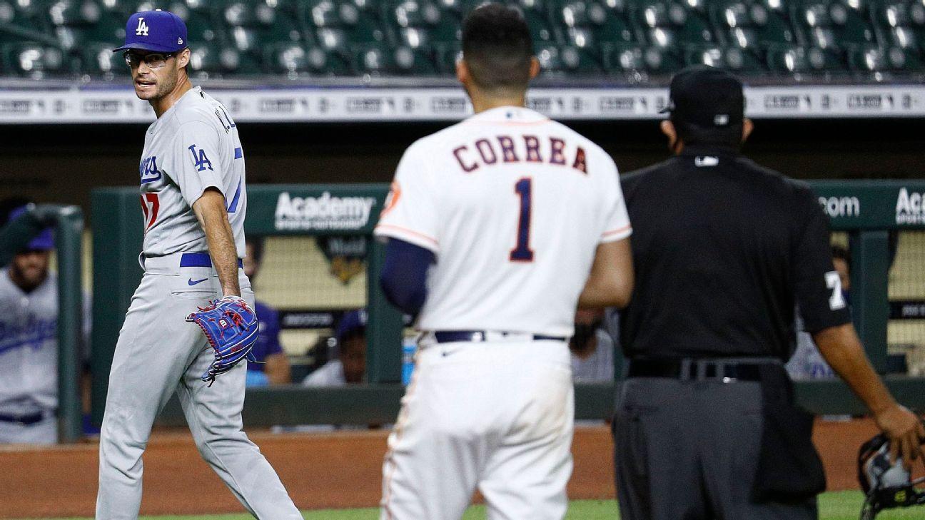Benches Clear As Dodgers Joe Kelly Throws Behind Astros Alex Bregman Taunts Carlos Correa