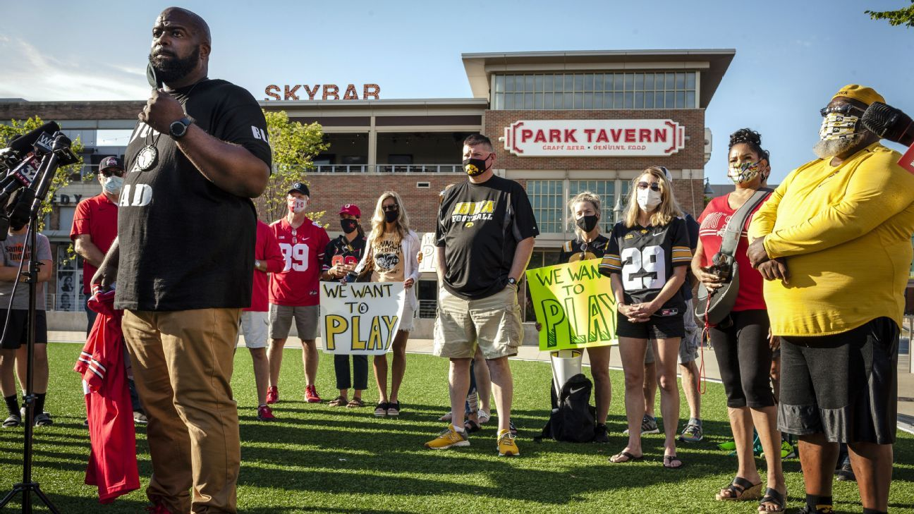 football ten parents protest headquarters fall season want college device
