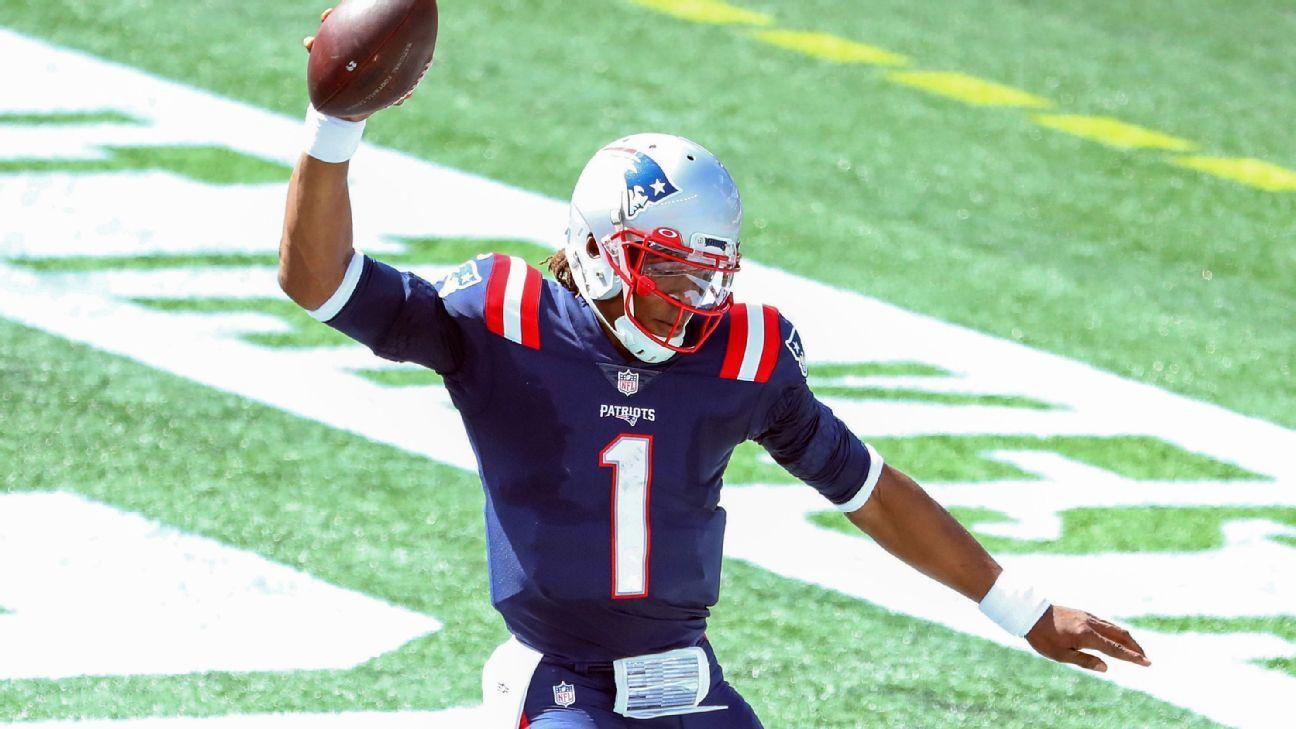Cam Newton runs in for first Patriots' touchdown – ESPN