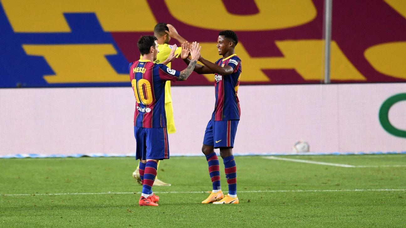 Barca teen Fati living 'dream' starring with Messi