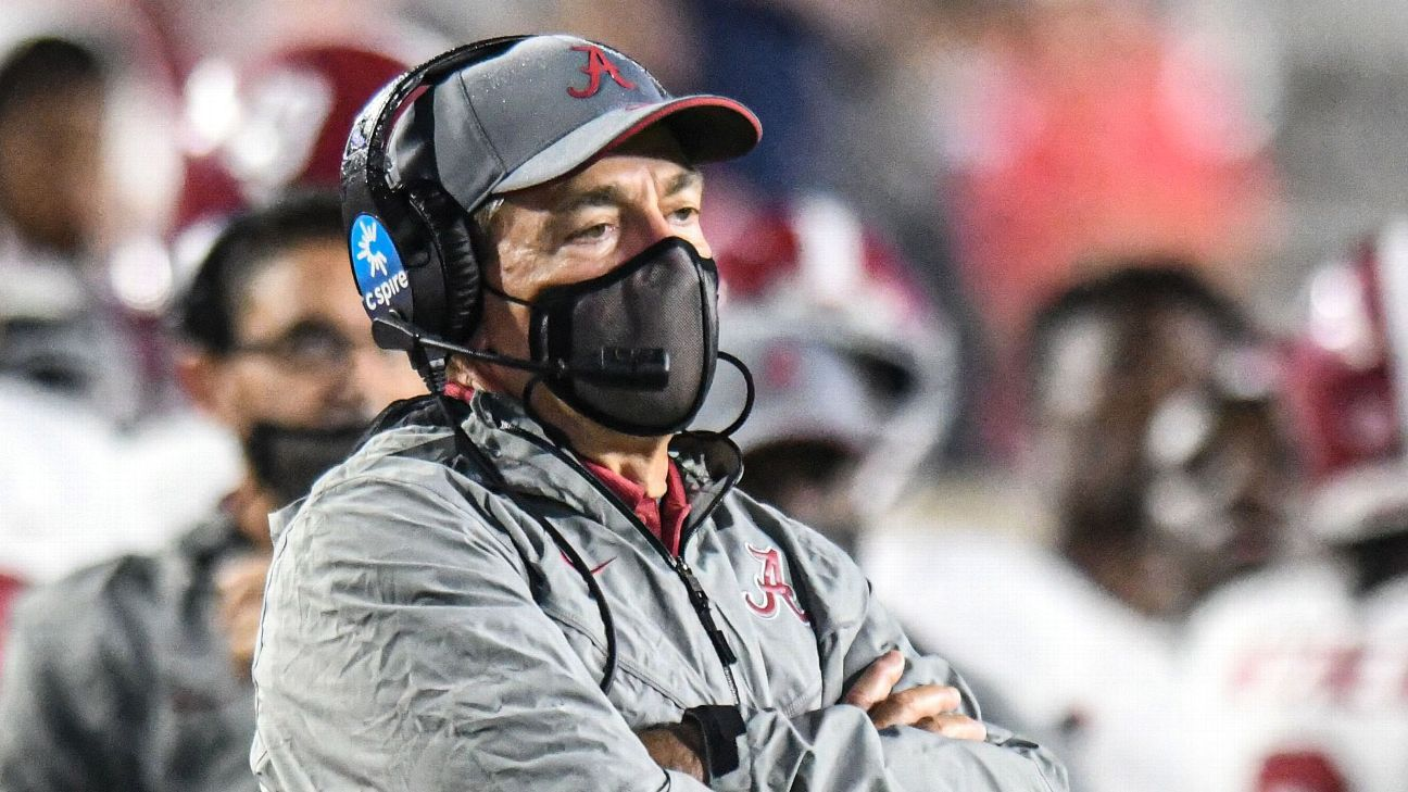 Alabama football coach Nick Saban athletic director Greg Byrne test positive for COVID-19 – ESPN