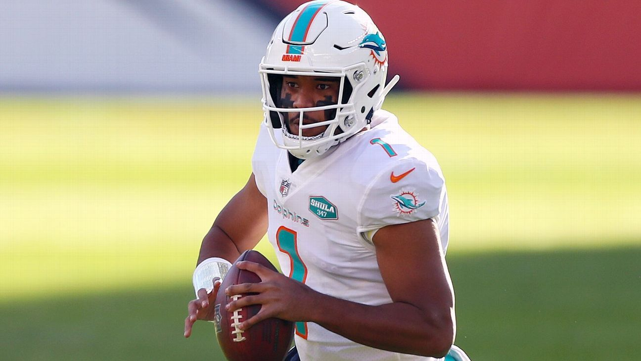 Tua questionable vs. Jets with thumb injury