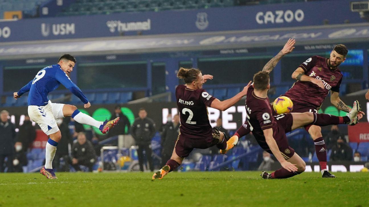 James intentó pero no pudo: sus números en Everton ante Leeds