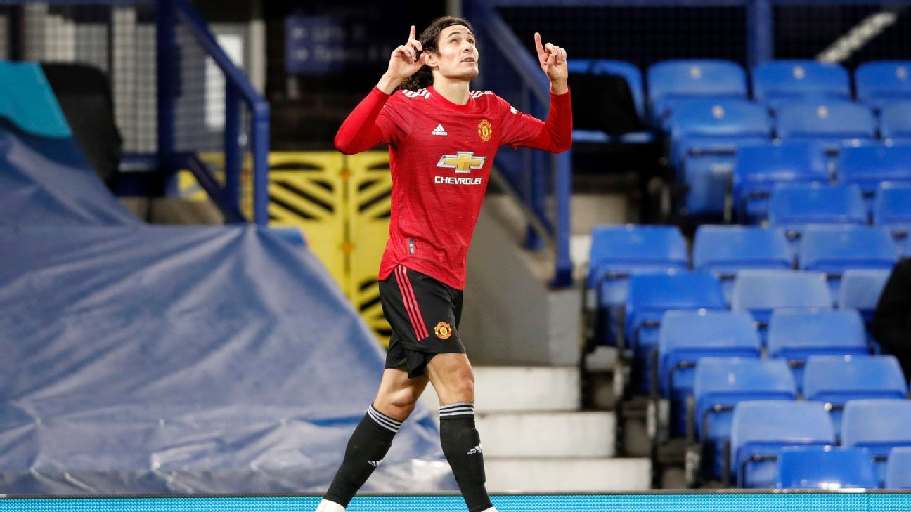 Cavani stunner saves Man Utd over Everton