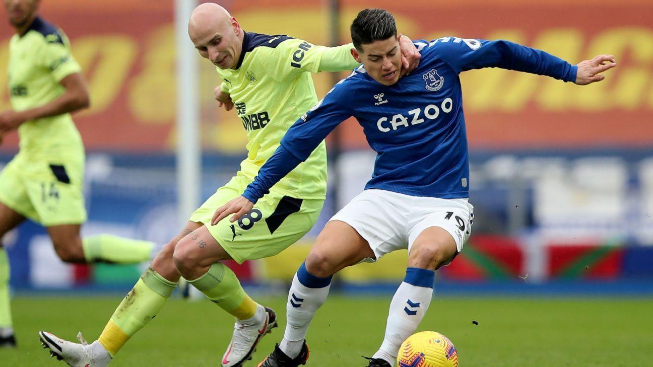 Un aporte inferior al acostumbrado: los números de James Rodríguez en Everton ante Newcastle
