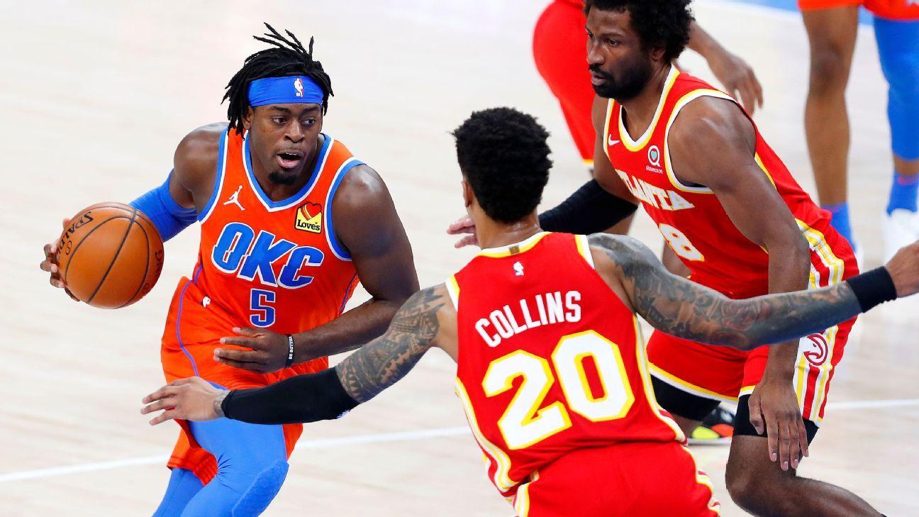 Oklahoma City Thunder change jerseys at half after mix-up with Atlanta Hawks - ESPN