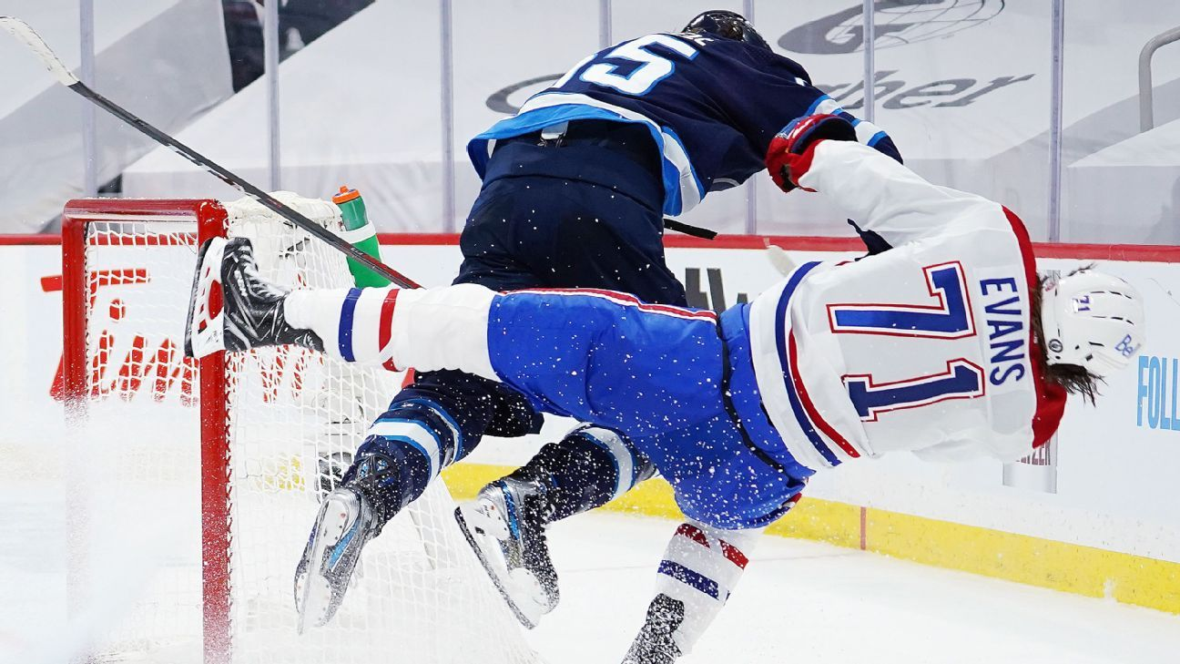 Habs' Evans stretchered off after 'disgusting' hit thumbnail