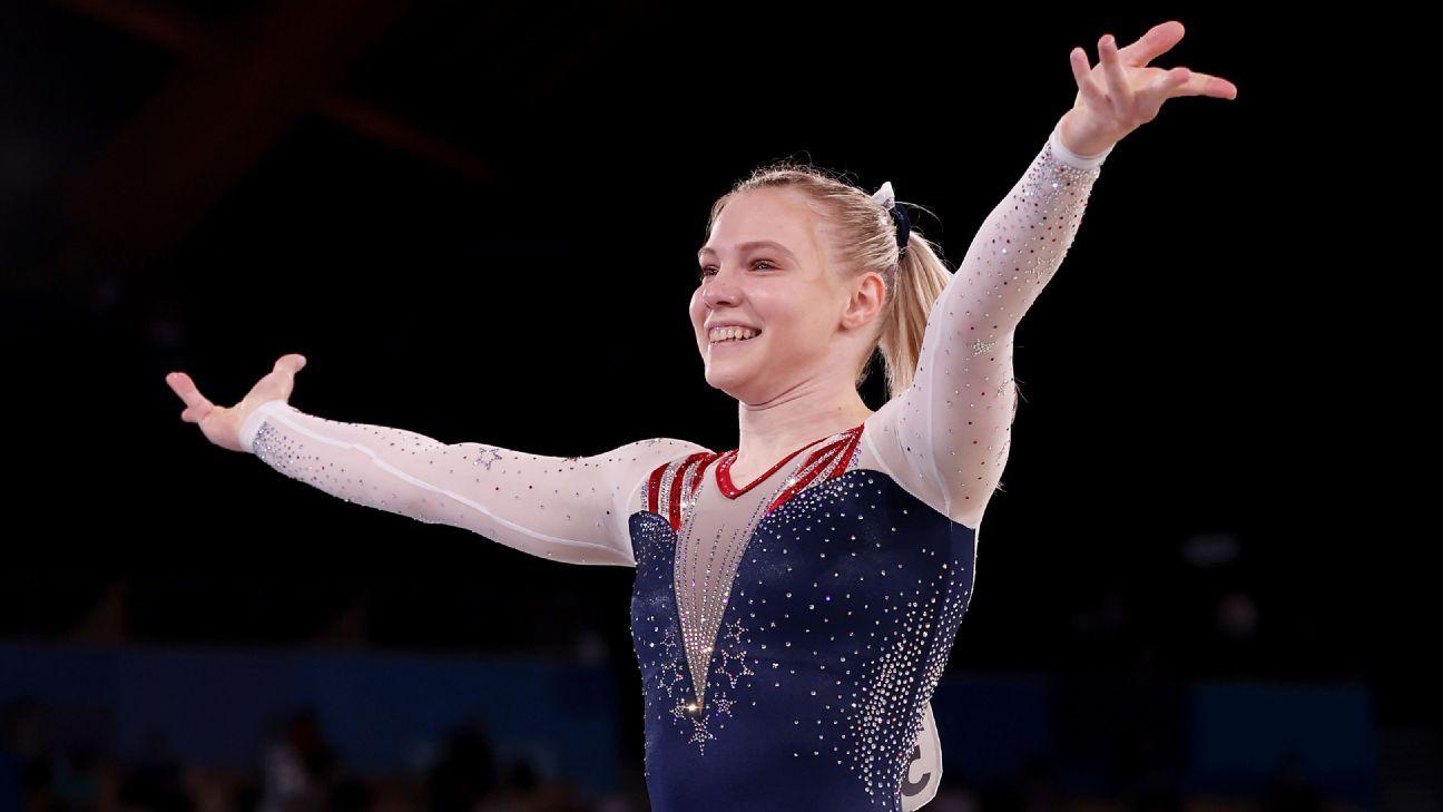 Jade Carey of United States wins women's gymnastics gold in floor exercise