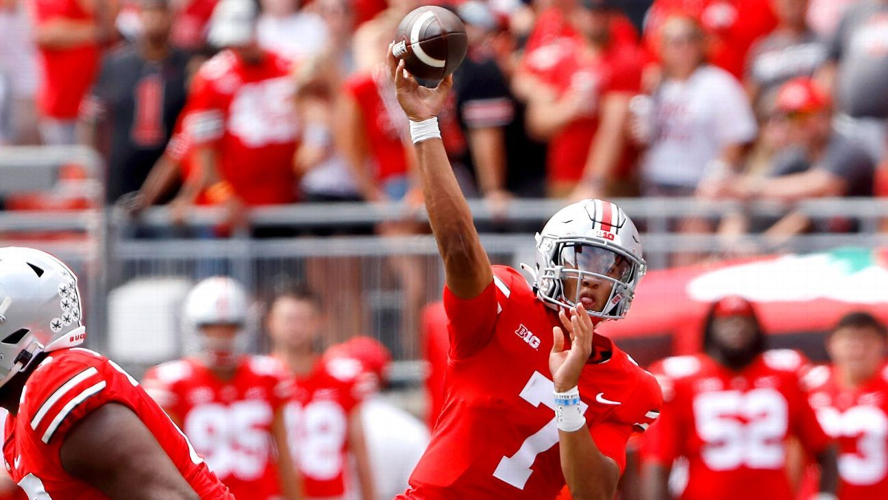 Ohio State Buckeyes QB C.J. Stroud only to be used as emergency vs. Akron football because of shoulder injury, coach Ryan Day says