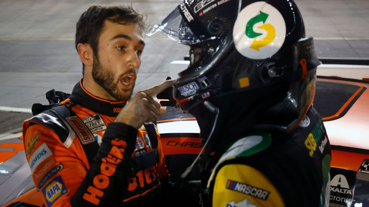 Heated postrace exchange between Kevin Harvick Chase Elliott overshadows Kyle Larson's victory in NASCAR Cup Series – ESPN