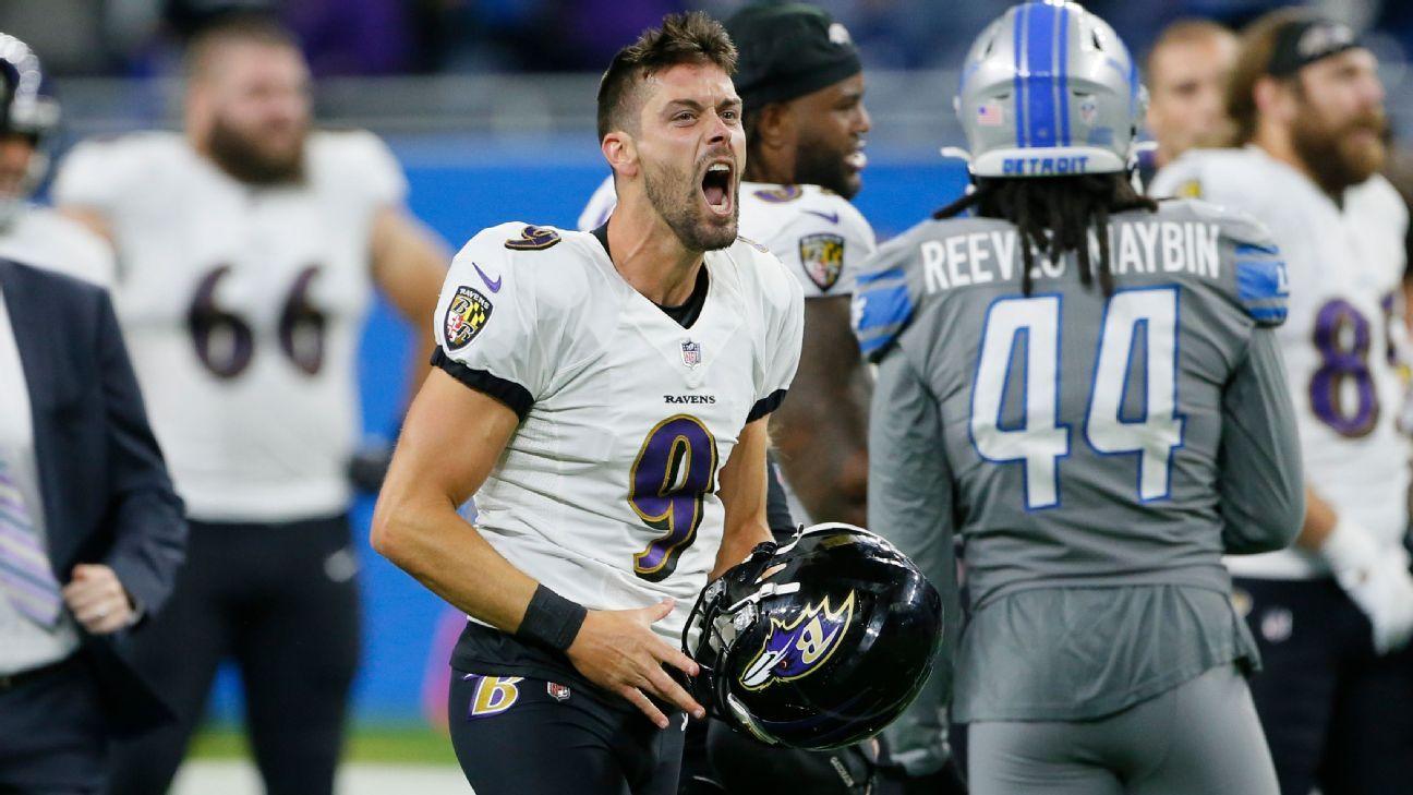 Baltimore Ravens' Justin Tucker wins game against Detroit Lions on record 66-yard FG – ESPN