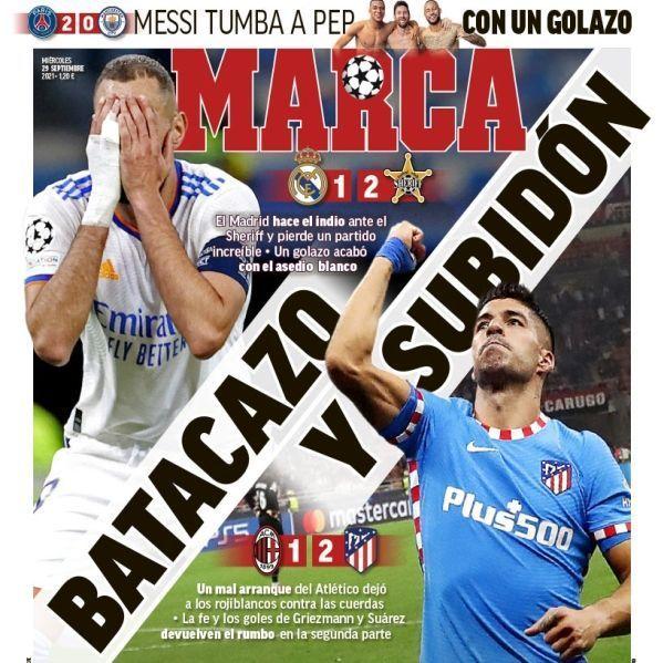 En España destacan así el descalabro del Real Madrid en la Champions: 'Detenidos por el Sheriff'
