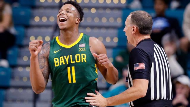 Baylor guard Mark Vital (11) reacts during the first half of an NCAA college basketball game against Coastal Carolina at the Myrtle Beach Invitational in Conway, S.C., Friday, Nov. 22, 2019