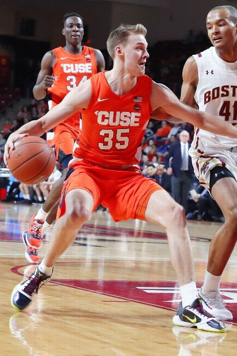 Syracuse Orange guard Buddy Boeheim (35) takes the ball to the paint during the game between Boston College and Syracuse on March 3, 2020, at Conte Forum in Chestnut Hill, MA