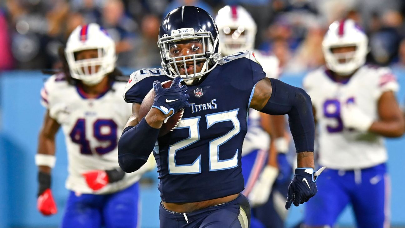 Derrick Henry's fifth straight 100-yard game helps Titans to win over Bills